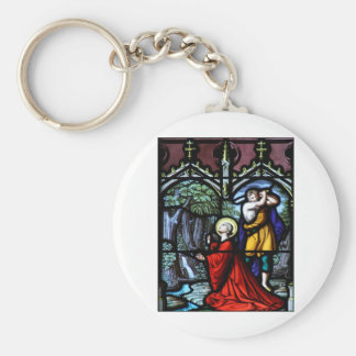 Saint Barbara's Martyrdom Stained Glass Art Basic Round Button Key Ring