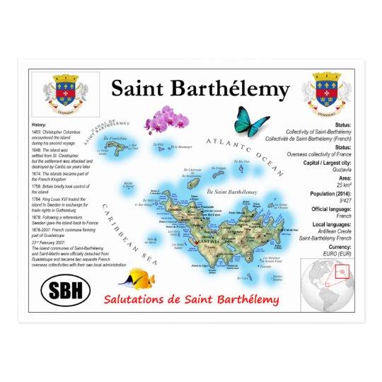 Saint Barthélemy Map Postcard