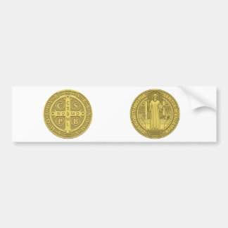 Saint Benedict Cross Medal in Gold Bumper Stickers