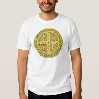 Saint Benedict Cross Medal in Gold T-shirts