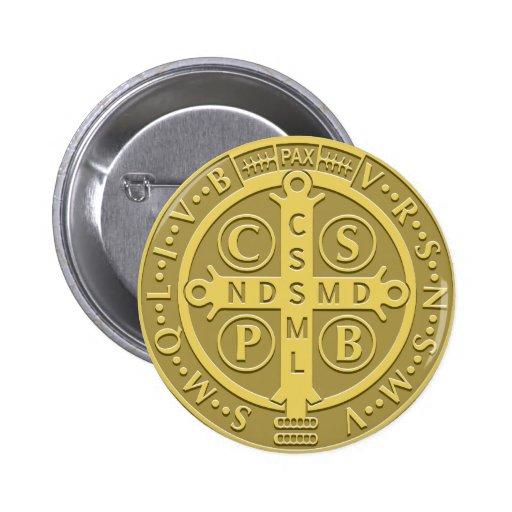 Saint Benedict Medal Gold Pinback Button