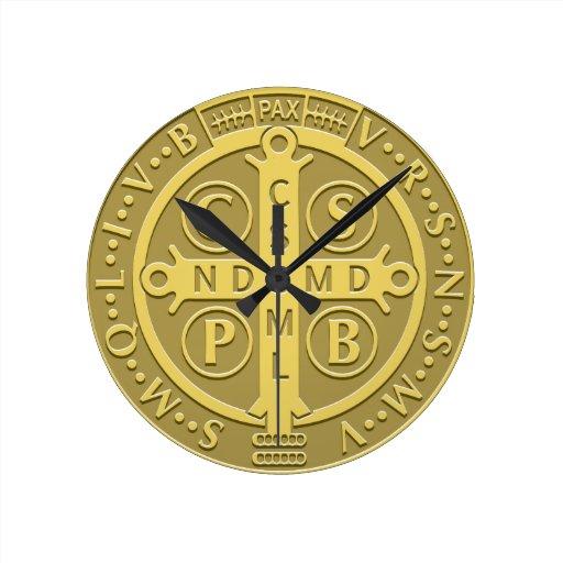 Saint Benedict Medal Gold Round Wallclocks