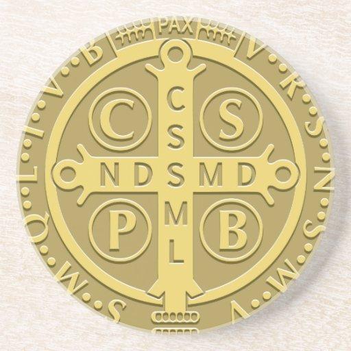 Saint Benedict Medal Gold Coasters