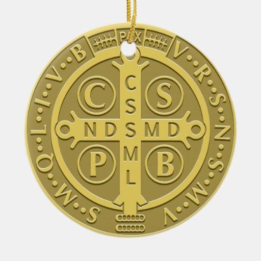 Saint Benedict Medal Gold Ornament
