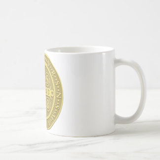 Saint Benedict Medal Gold Coffee Mugs