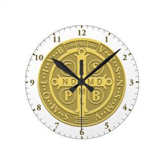 Saint Benedict Medal Gold Wallclock