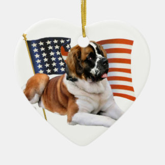 Saint Bernard All American Ceramic Ornament