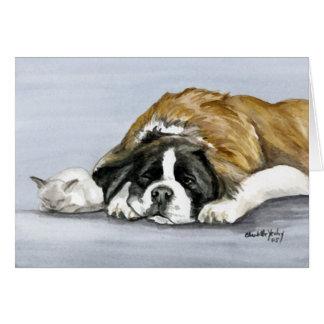"""""""Saint Bernard and Kitten"""" Dog Art Notecard"""