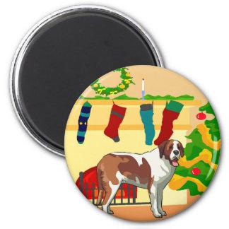 Saint Bernard Christmas Magnet