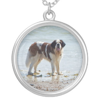 Saint Bernard dog at beach necklace, gift idea Round Pendant Necklace