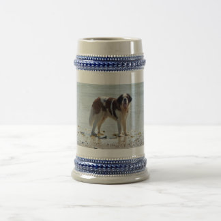 Saint Bernard dog at beach, stein, gift idea Beer Stein