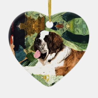 Saint Bernard Dog Ceramic Heart Decoration