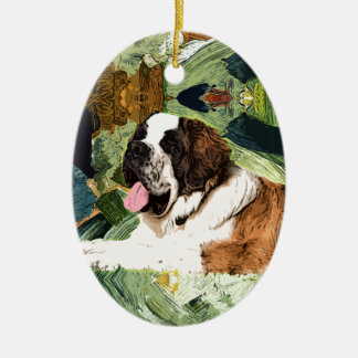 Saint Bernard Dog Ceramic Oval Decoration