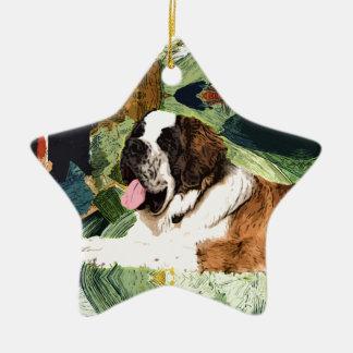 Saint Bernard Dog Ceramic Star Decoration