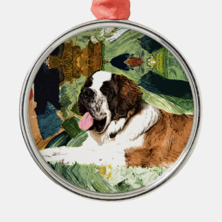 Saint Bernard Dog Metal Ornament