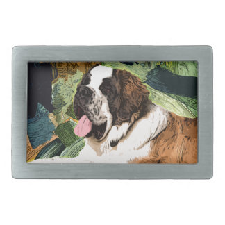 Saint Bernard Dog Rectangular Belt Buckles