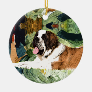 Saint Bernard Dog Round Ceramic Decoration