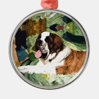 Saint Bernard Dog Silver-Colored Round Decoration