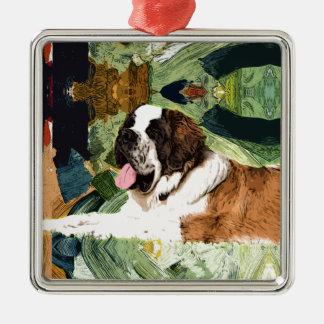 Saint Bernard Dog Silver-Colored Square Decoration