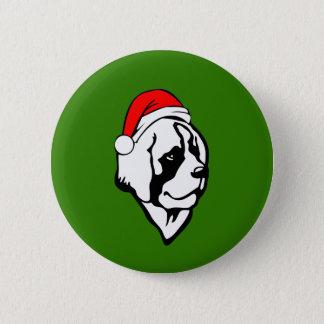 saint Bernard Dog with Christmas Santa Hat 6 Cm Round Badge