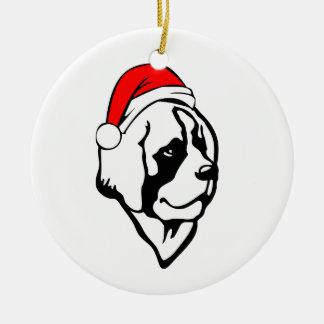 saint_Bernard Dog with Christmas Santa Hat Round Ceramic Decoration