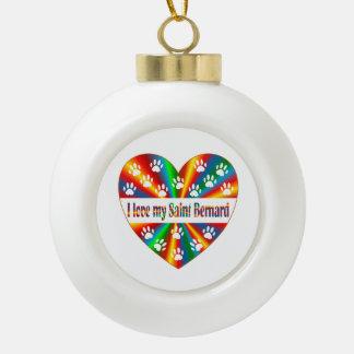 Saint Bernard Love Ceramic Ball Decoration