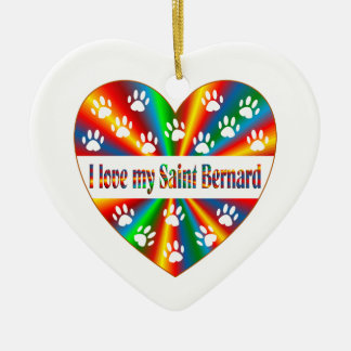 Saint Bernard Love Ceramic Ornament