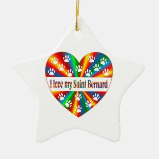 Saint Bernard Love Ceramic Star Decoration
