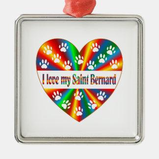 Saint Bernard Love Metal Ornament