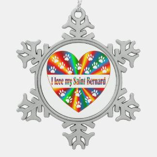 Saint Bernard Love Pewter Snowflake Decoration