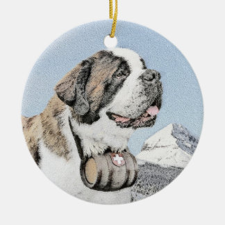 Saint Bernard Painting - Cute Original Dog Art Ceramic Ornament