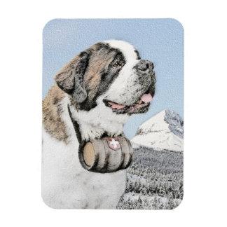 Saint Bernard Painting - Cute Original Dog Art Magnet