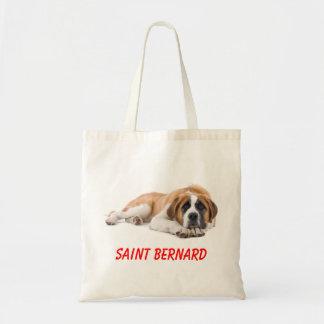 Saint Bernard Puppy Dog Canvas  Large Totebag Budget Tote Bag