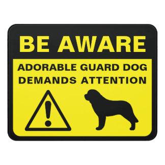 Saint Bernard Silhouette Funny Guard Dog Sign