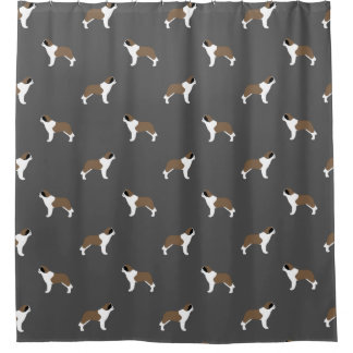 Saint Bernard Silhouettes Pattern Shower Curtain