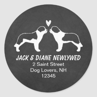 Saint Bernard Silhouettes Return Address Classic Round Sticker