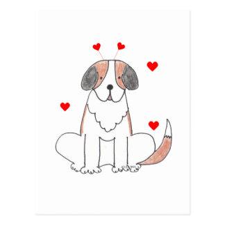 Saint Bernard Valentine Ears Postcard