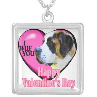 Saint Bernard Valentines Day Gifts Square Pendant Necklace