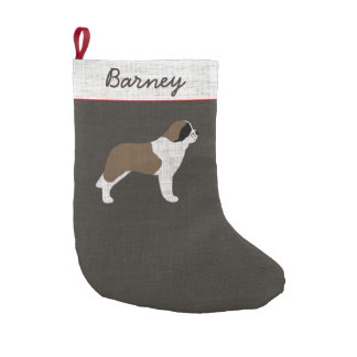 Saint Bernard with Custom Text Small Christmas Stocking
