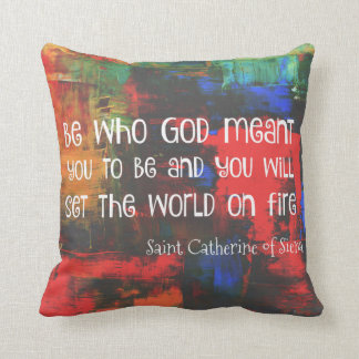 Saint Catherine of Siena Quote Colorful Throw Pillow