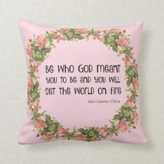 Saint Catherine of Siena Quote Roses Cushion