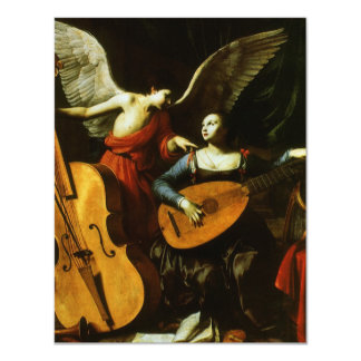 Saint Cecilia and the Angel by Carlo Saraceni 11 Cm X 14 Cm Invitation Card