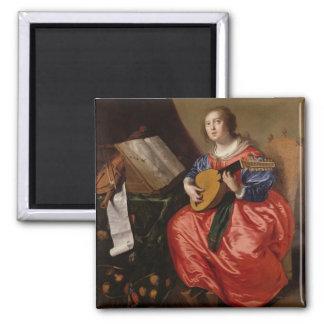 Saint Cecilia (oil on canvas) Square Magnet