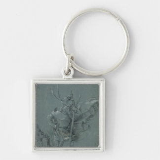 Saint Christopher, 1510 Silver-Colored Square Key Ring