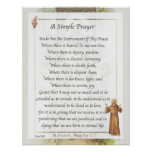 Saint Francis of Assisi A SIMPLE PRAYER Poster