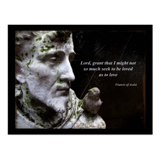 Saint Francis of Assisi and Bird Quote Postcard