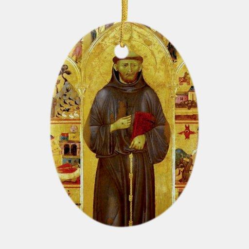 Saint Francis of Assisi Mediaeval Iconography Ceramic Oval Decoration