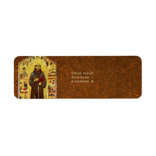 Saint Francis of Assisi Mediaeval Religious Icon Return Address Label
