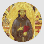 Saint Francis of Assissi Mediaeval Iconography Round Stickers