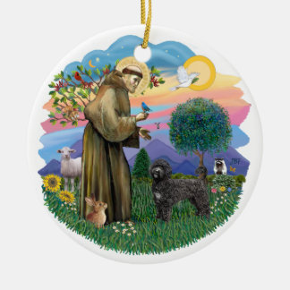 Saint Francis - Portuguese Water Dog (black) Ceramic Ornament